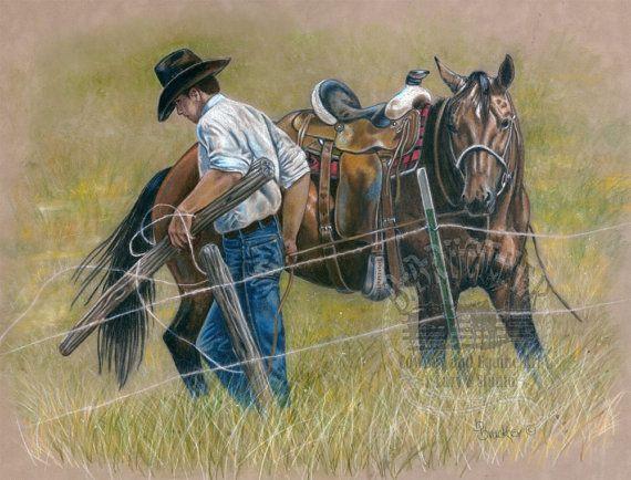 Cowboy Ranch cavallo matita colorata stampa di BrucknerCowboyArt