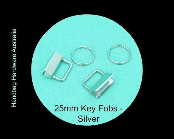 """25mm / 1"""" (Inch) Pack of 25 - Key Fob Clasp and Split Ring - Silver -  Hand bag…"""