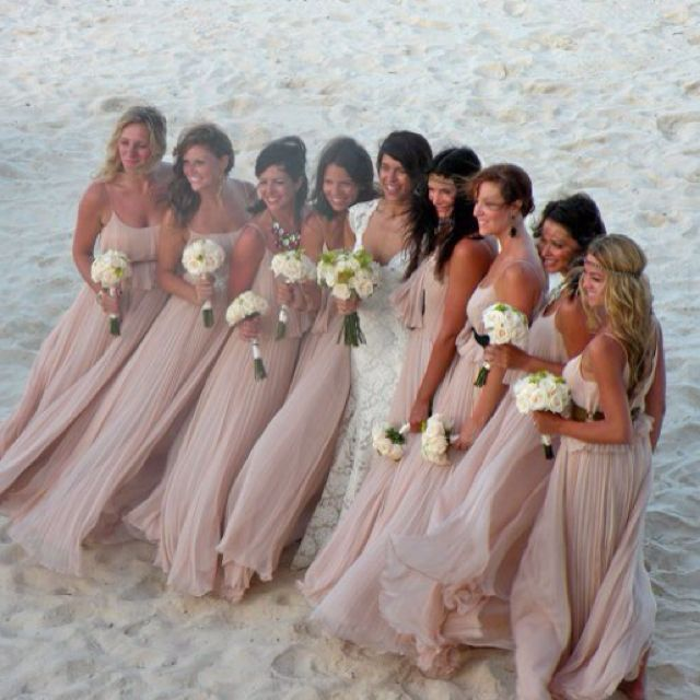 bridesmaid dress # theme of grey pink #  lace # flows neutrals