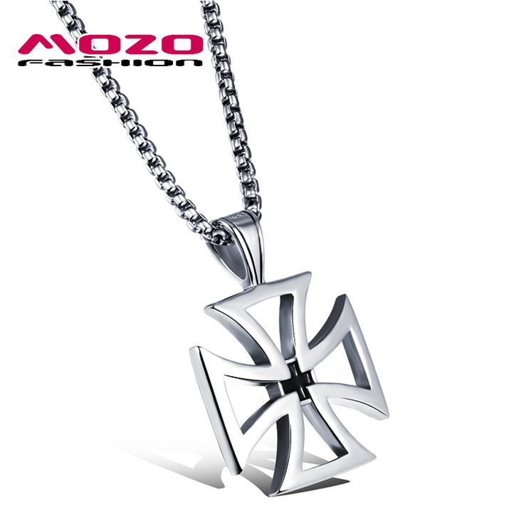 New 2016 Men Stainless Steel Cross Pendant Choker Collar Necklace Hot Punk Jewelry Accessories Silver Statement Necklace MGX1049