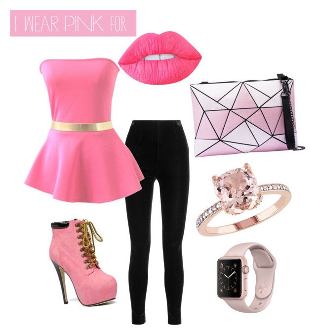 I wear pink for the woman by nkichar on Polyvore featuring polyvore fashion style Balmain Lime Crime clothing IWearPinkFor