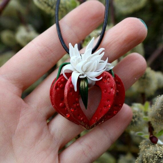 Valentine's day gift Heart with the lotus flower pendant