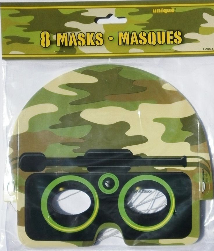Army Camouflage Camo Military Green Party Masks - 8 Pack - Unique Industries