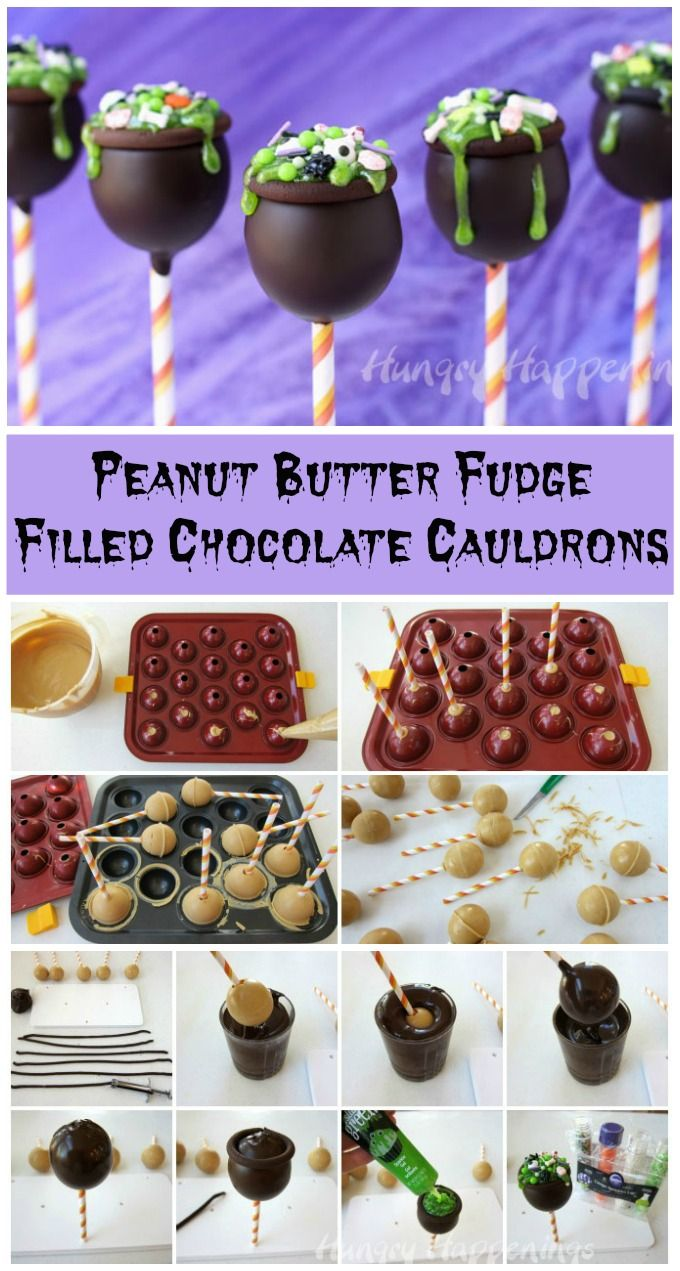 Conjure up some magic this Halloween by serving the most decadent Halloween treat you've ever made. These Peanut Butter Fudge Filled Chocolate Cauldrons are wickedly good. See the step-by-step tutorial at HungryHappenings.com.