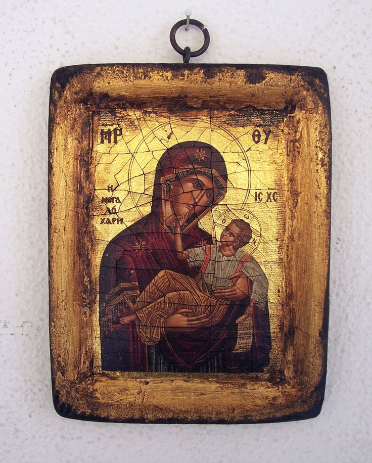 Orthodox greek religious icon with mount Athos style, vintage and byzantine style with Virgin Mary and Christ by GardenOfLinda on Etsy