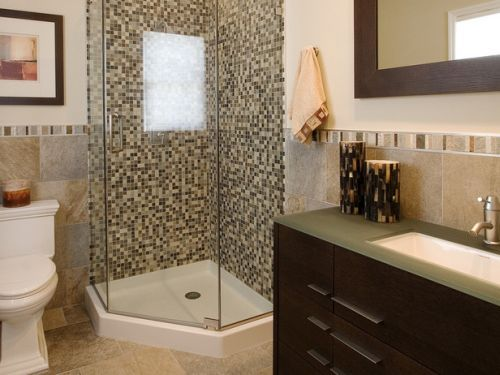 corner shower base with glass doors.  Tile walls!!!