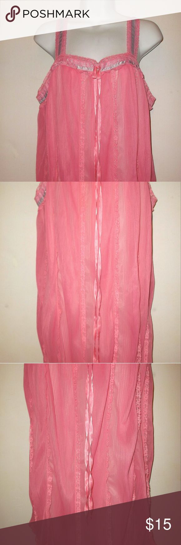 Vintage Vanity Fair Pink Frilly Nightgown  Medium This is a beautiful vintage Nightgown by Vanity Fair.   Size 36 which is approximately a size Medium.   Nylon fabric in an accordion pleat.  Dark pink and lined in a lighter pink tricot fabric,  The straps are lace with ribbon trim.   Measures 19 inches across the front from underarm to underarm,  36 inches underarm to bottom hem.   Excellent condition!  Please, no offers except with bundles. Vanity Fair  Intimates & Sleepwear