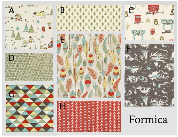 Custom Baby Crib Bedding- Design Your Own Bedding/Dorm Bedding- Glider Cushions- Formica- Vintage Brown, Red, Aqua