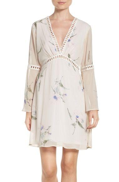 Main Image - Fraiche by J Floral Print Chiffon Blouson Dress