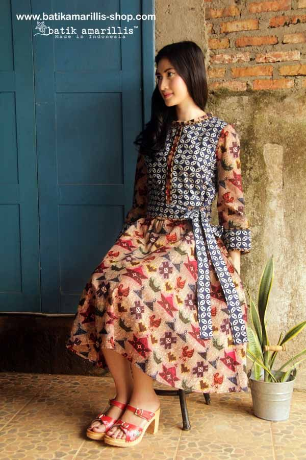 batik amarillis's rive gauche dress www.batikamarillis-shop.com 'Elegantly beautiful & timeless dress with flowing hemline such a charming dress accented with panelled detailing & contrast trims Made of hand drawn batik Banyumas-Indonesia