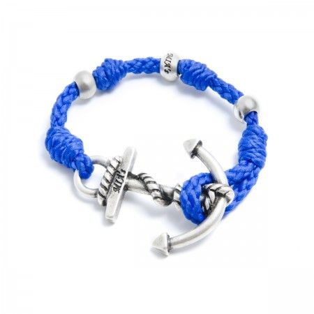 Adjustable Bracelet (up to 22 cm) spheres and anchor to choose between silver or gold. Bracelet Color: Blue Made in Italy