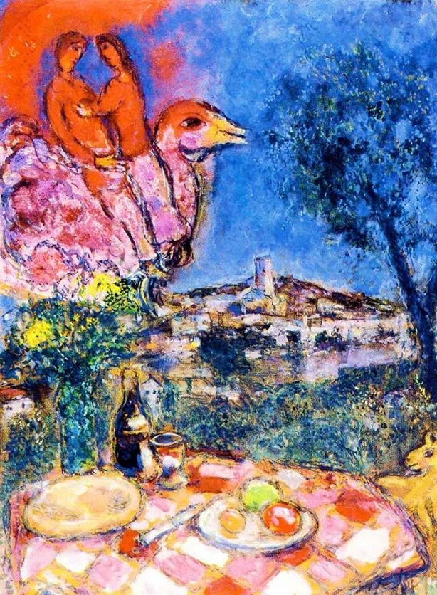 Marc Chagall - Laid Table with View of Saint-Paul de Vence, 1968