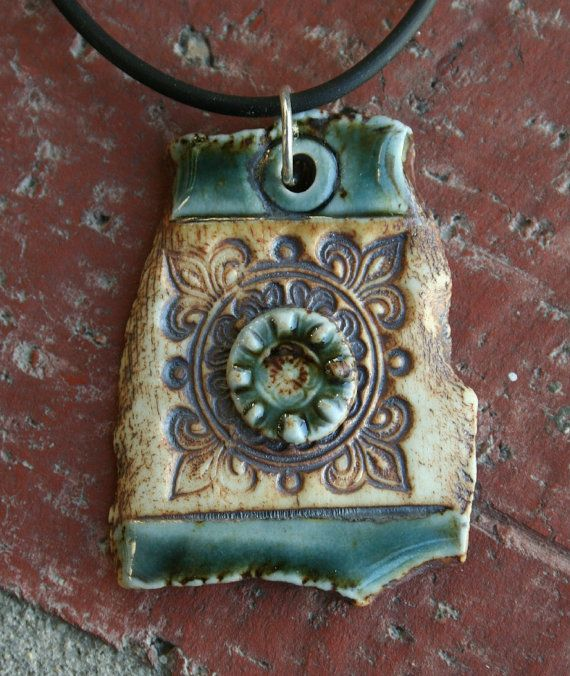 Teal+Rustic+Square+Porcelain+Pendant+by+muddyfingers+on+Etsy