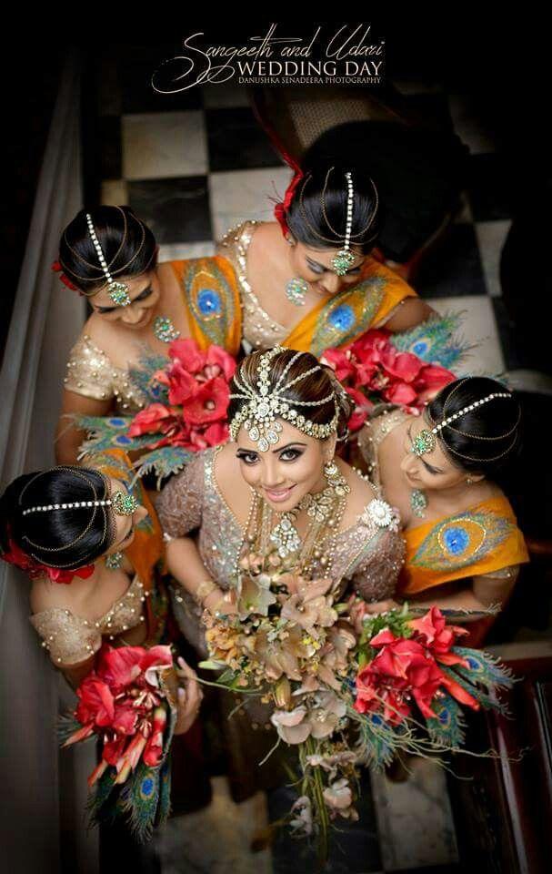 Sri Lankan bride and peacock bridesmaids