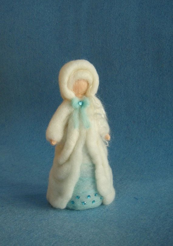 Winter Fairy Doll Needle Felted Wool Soft Sculpture Waldorf inspired
