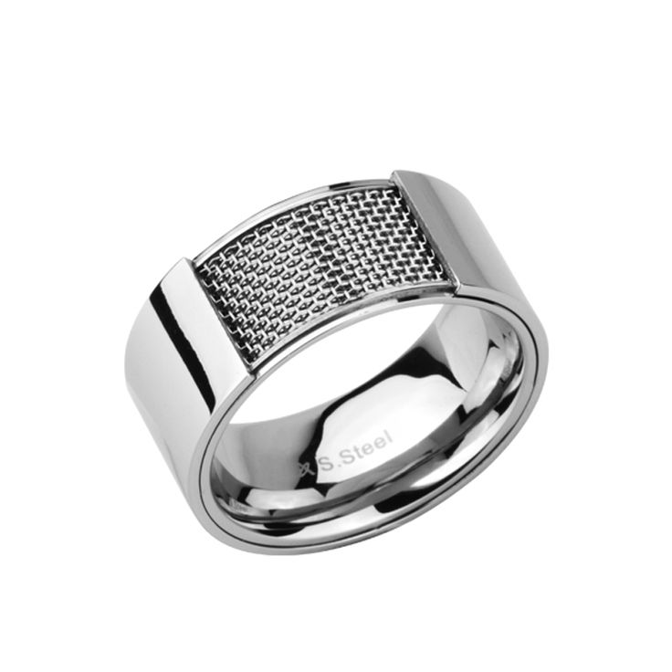 Polished Stainless Steel Band with Steel Mesh detail, 10mm band. http://lily316.com.au/shop/collection/polished-stainless-steel-ring-with-steel-mesh/