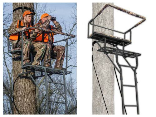 Tree-Stands-For-Hunting-Ladder-Deer-Stand-2-Person-Double-Man-Shooting-Seat-Bars