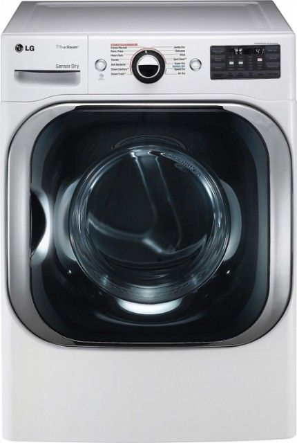 LG - 9.0 Cu. Ft. 14-Cycle Electric Dryer with Steam - White - Front_Zoom