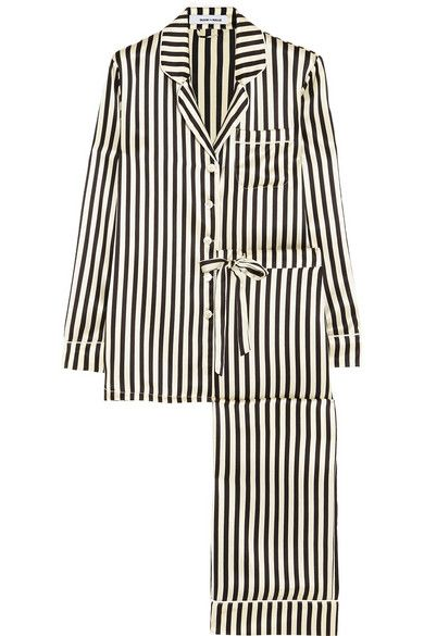 OLIVIA VON HALLE Lila Nika striped silk-satin pajama set