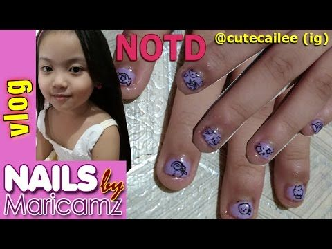 vlog: Kid's Nail Art of the Day: 5 year old Cailee - Nail Stamping by Ma...