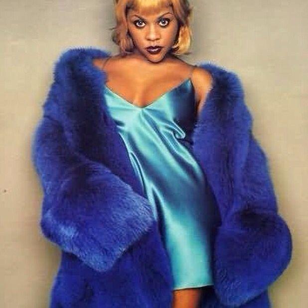 Lil kim 90s blue faux fur jacket coat metallic nightie mini dress