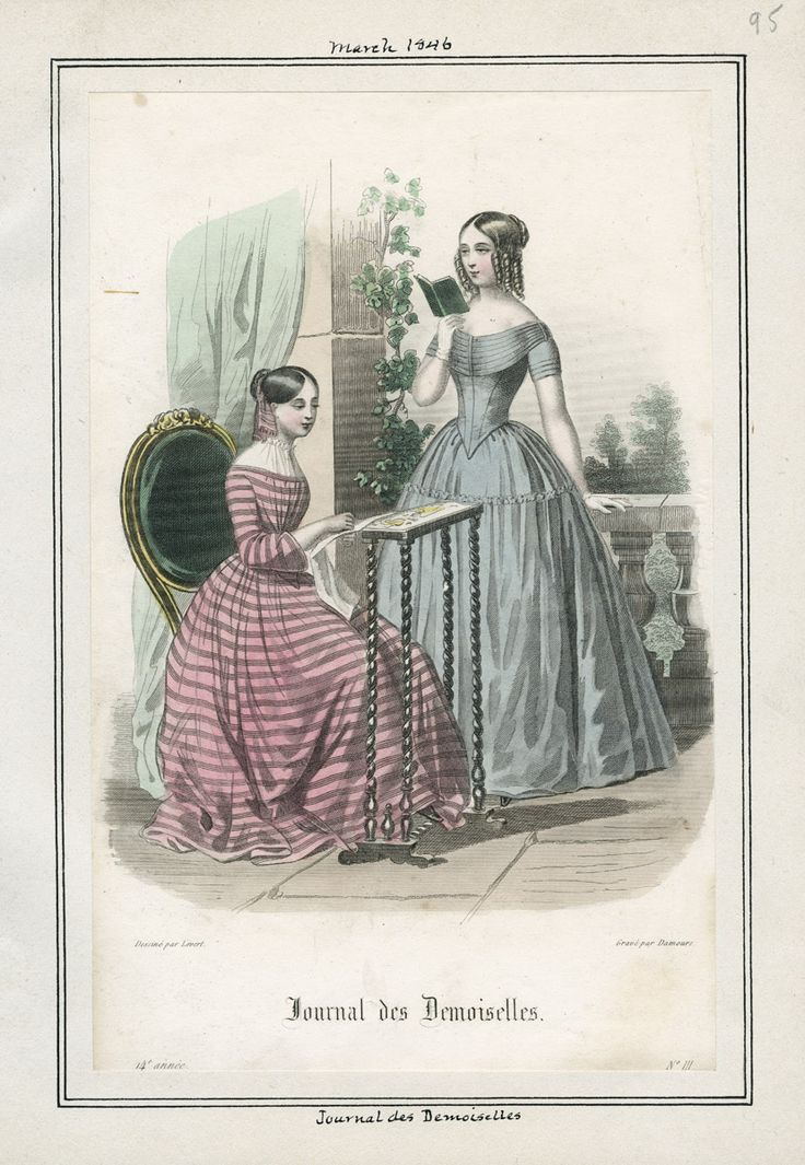 1846 March.  Women's Dresses.  Journal des Demoiselles.          lapl.org