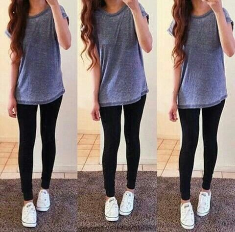 Long T-shirt with leggings and converse. Casual outfit. Everyday outfit.