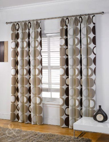 MODERN HALO CURTAINS Heavy Weight Half Panama Pencil Pleat Lined Curtain Natural Cream Beige Chocolate