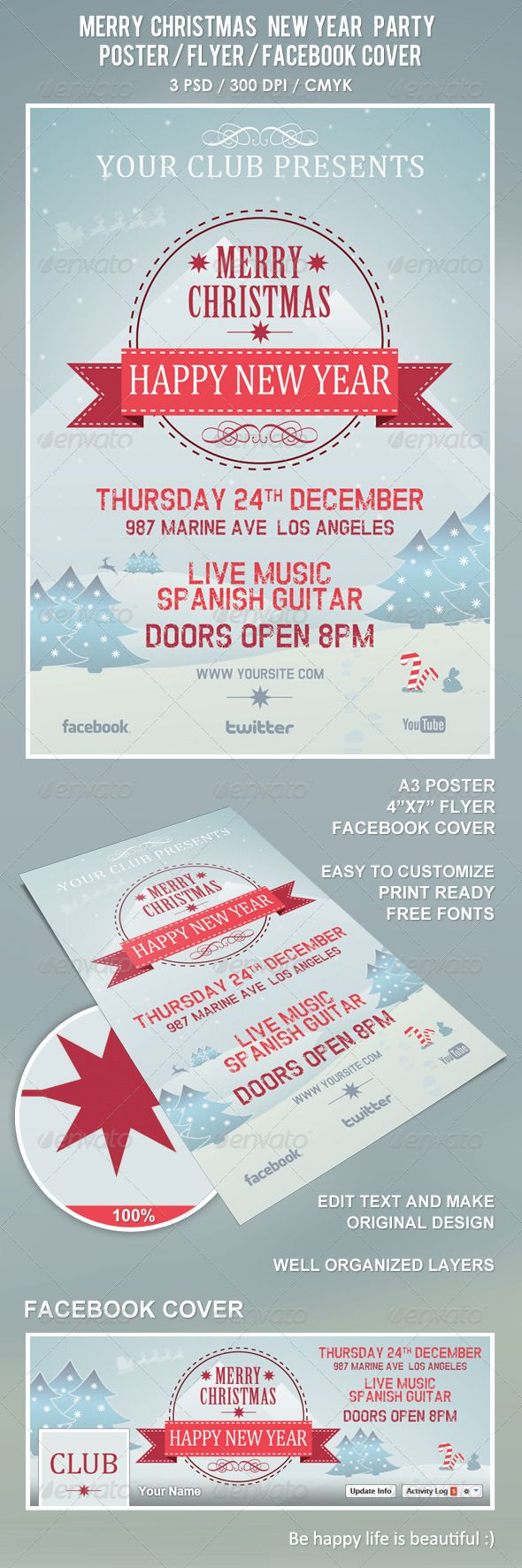 Christmas New Year Party Poster / Flyer / Facebook #GraphicRiver Poster was designed to promote Christmas New Year music club / party event…