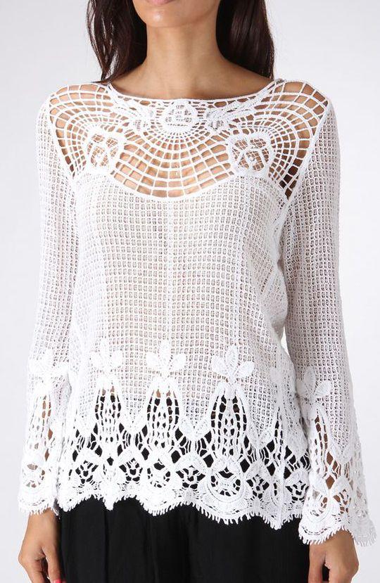 White Sheer Crochet Top      ♪ ♪ ... #inspiration #crochet  #knit #diy GB  http://www.pinterest.com/gigibrazil/boards/