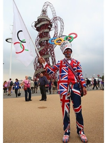 A British fan shows off his colours ahead of the London 2012 Olympic Games Opening Ceremony at the Olympic Stadium on 27 July.