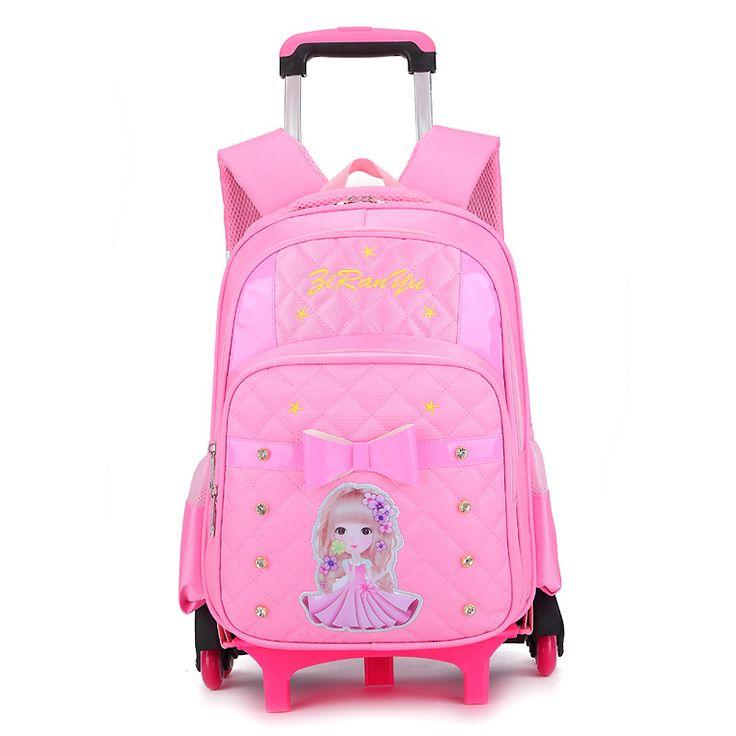 Children School Bags With Wheels Stairs Kids Mochila Infantil Boys Trolley Schoolbag Luggage Book Bags Wheeled Backpack Bolsas