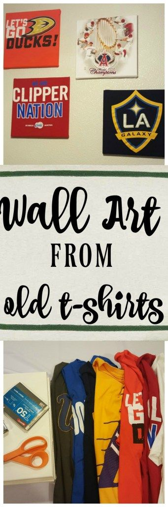 See how to turn old t-shirts into wall art. It's easy no sew DIY decor for a kid's room, dorm room, apartment wall or man cave!
