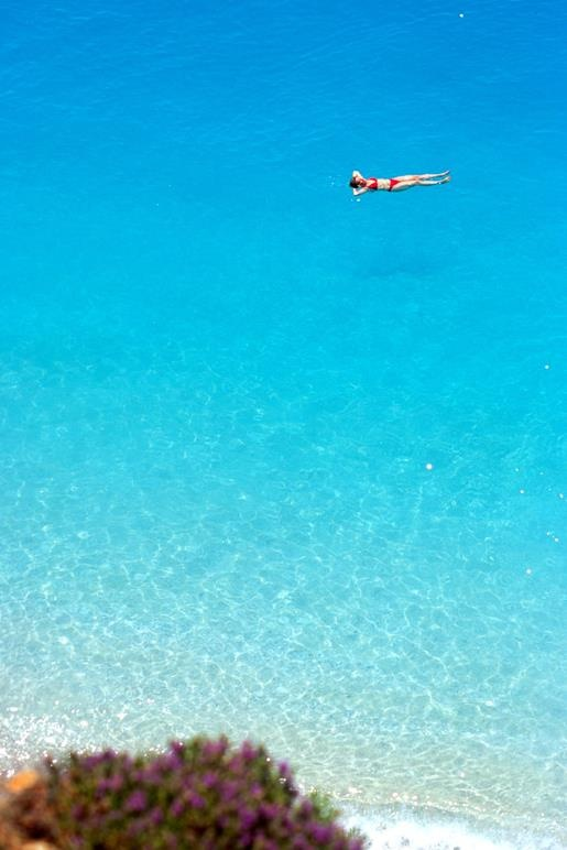 floating in Leukada,Greece