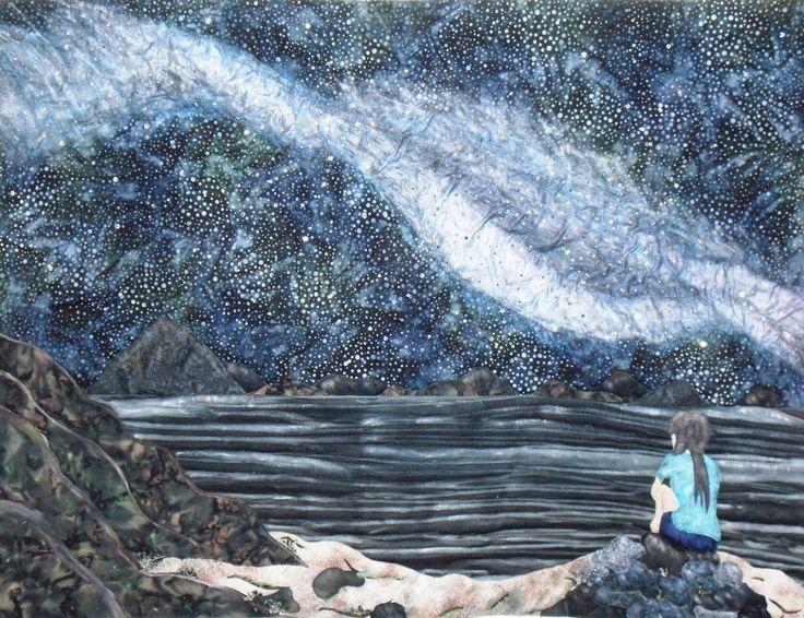 I Wish I May, I Wish I Might, Qullted Fiber Art with Crystals & Lights in the Milky Way.
