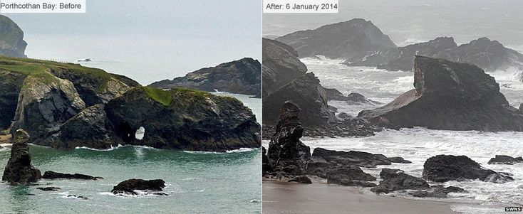 Stormy weather has wreaked havoc across the UK. A combination of high winds, rain and strong waves have battered the coastline and also caused flooding further inland.  A landmark rock arch in Porthcothan Bay in Cornwall, has been reduced to rubble.