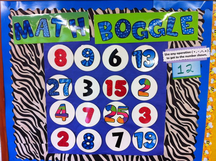 MATH BOGGLE!    Math Teachers: The Boggle Word Game craze can now be in your classroom too! Use any operation and as many numbers to obtain a goal number that you set.  Example: A goal of 12 would be 15/3+7=12 or 13+2-3=12.