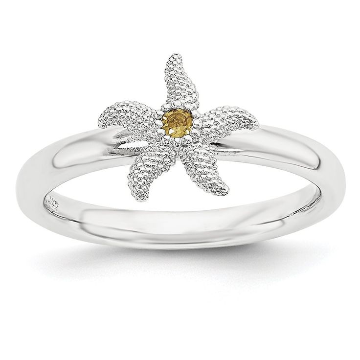 Sterling Silver Stackable Expressions Citrine Starfish Ring