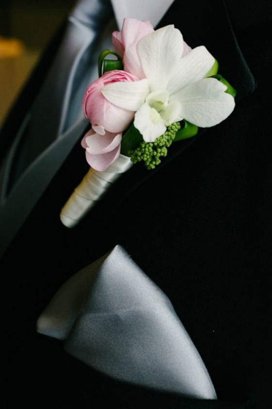 Dendrobium Orchid. Ranunculus. Boutonniere. Pink and White. Chicago Wedding.  Waldorf Astoria. Flowers by Vale of Enna. Photos by Pen Carlson Photography. SweetChic Events.