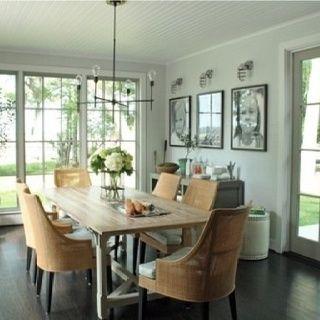Farmhouse table + chairs + chandelier + buffet
