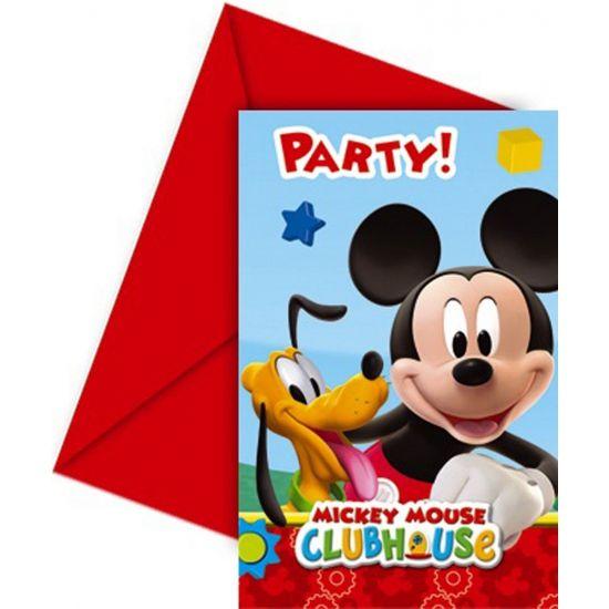 Uitnodigingen voor een Mickey Mouse feestje 6 stuks