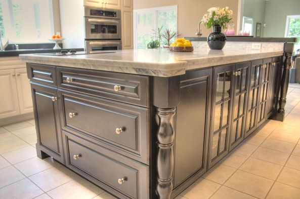 I like the dark island with the light granite contrasting for Dark kitchen cabinets with light granite