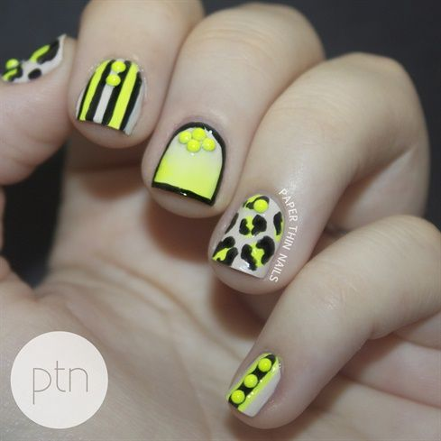 94 best Neon Nail Art images on Pinterest #1: c89c7a4f5daa94a17ddb6ec00f b bright nails yellow nails