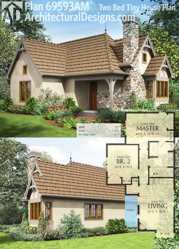 Architectural Designs Tiny House Plan 69593AM gives you 2 bedrooms and an open living area (see Tiny House Plan 69590AM for a smaller 1 bedroom version).
