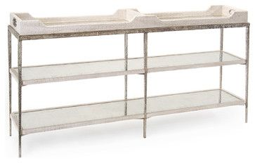 Bindi Hollywood Regency Tray Crocodile Silver Mirror Console Table - White - transitional - Console Tables - Kathy Kuo Home