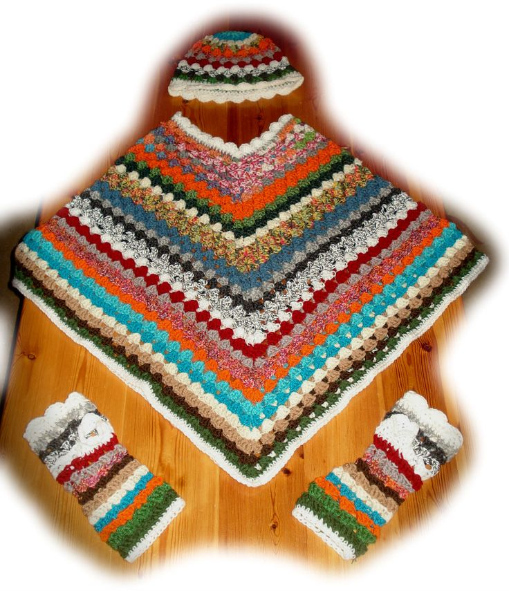 poncho with hat &handwarmer