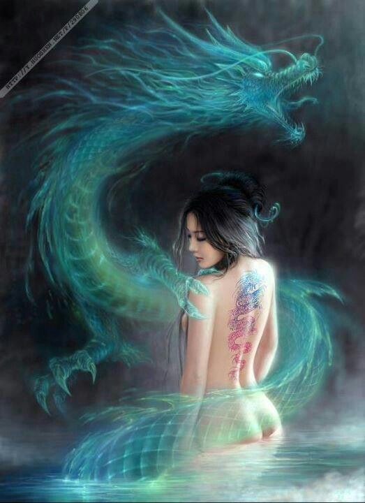 Asian Dragon and Beauty
