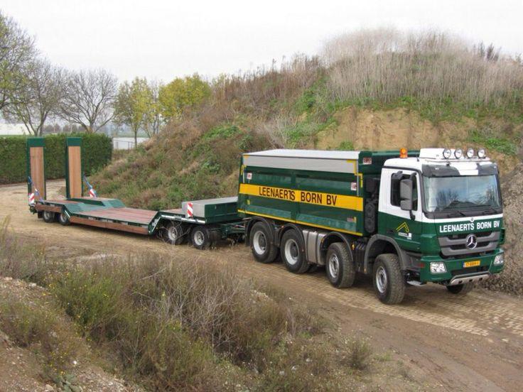 Mercedes actros dump truck with lowloader trailer for Mercedes benz dump truck