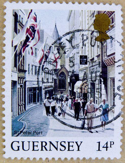 St. Peter Port, Guernsey ~ 14p postage stamp.