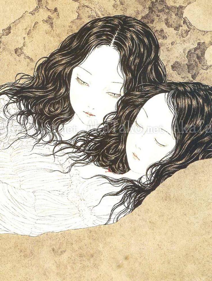 Takato Yamamoto - Japanese Illustration - Heisei Estheticism - Like a Curtain of Ashes (detail)